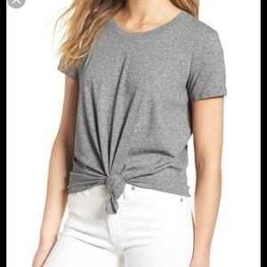 Madewell Gray Tie Knot Front Tee Shirt Top